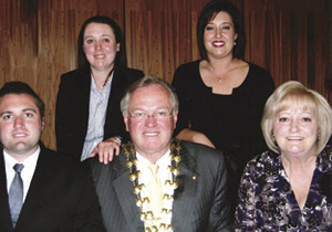 A family group taken during Jim's term as Mayor of Penrith in 2008/09. From left, James, Elizabeth, Marlene and wife Pam